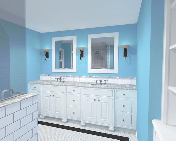 mainstreet design build basement bathroom rendering - Basement Bathroom Design